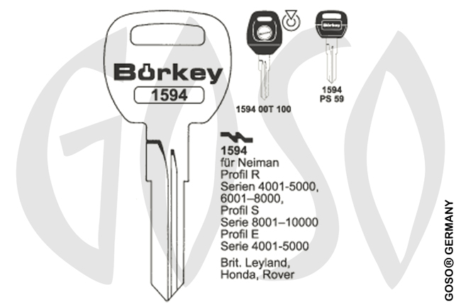 Boerkey car key steel plastic head KL-RV3P#K141 S-NE71RDP BO-1594PS59 JMA-NE-35P2
