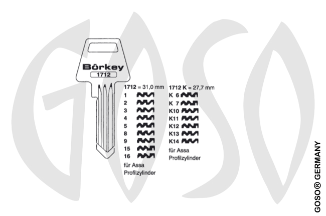 Boerkey cylinder key  BO-1712 K/1