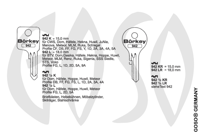 Boerkey cylinder key KL-DO34 S-DM34 BO-942K JMA-DOM-37D