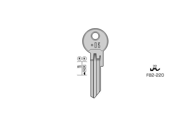 cylinder key Standard Messing KL-FB2-220 S-FB15RX BO-1679 JMA-FB-13