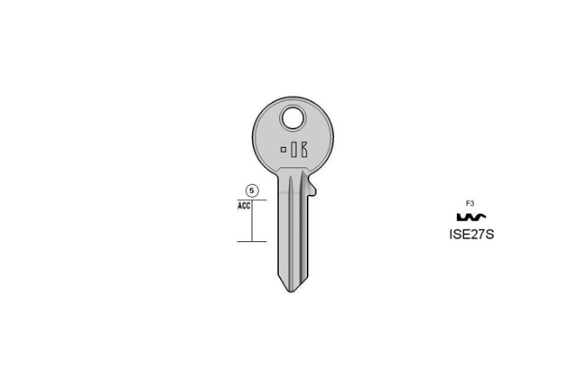 Gängige cylinder key  KL-ISE27S S-IE27R BO-1384-1/2 JMA-IS-15