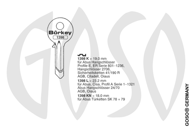 Boerkey cylinder key  BO-1398L