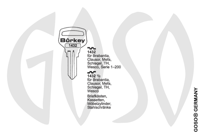 Boerkey cylinder key  BO-1432 1/2