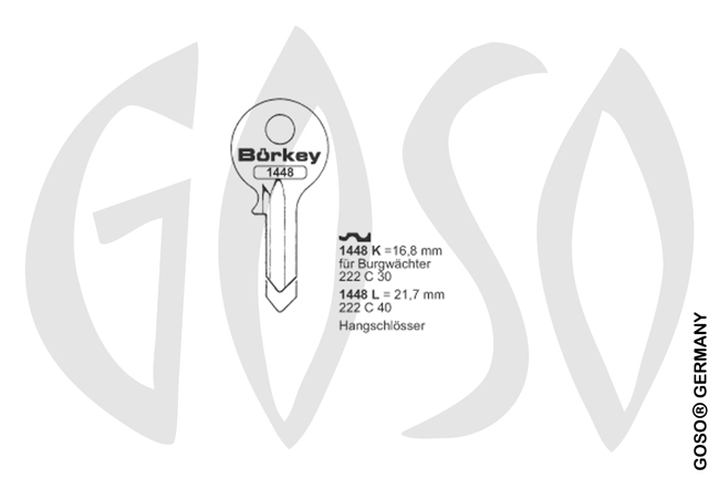 Boerkey cylinder key  BO-1448