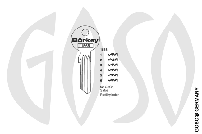 Boerkey cylinder key  BO-1568-4