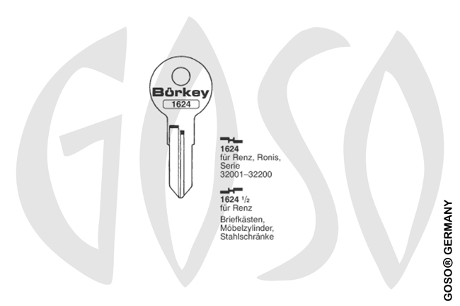 Boerkey cylinder key  BO-1624 1/2