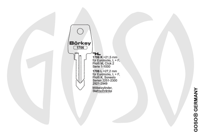 Boerkey cylinder key  BO-1706L