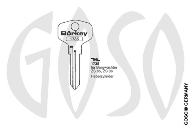 Boerkey cylinder key  BO-1735