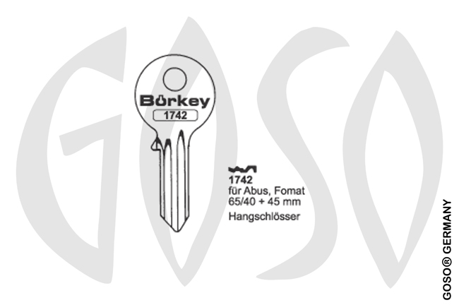 Boerkey cylinder key  BO-1742