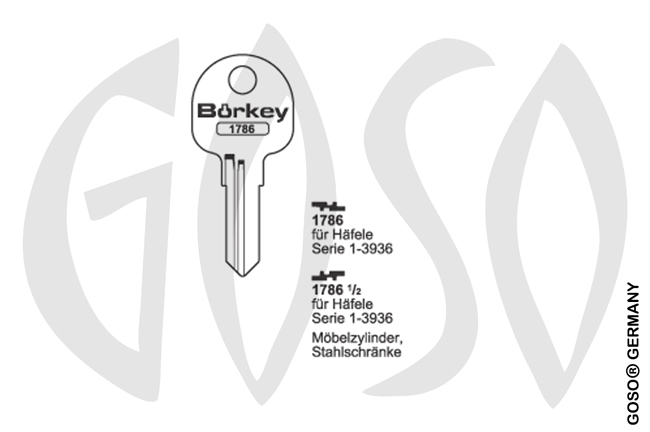 Boerkey cylinder key  BO-1786