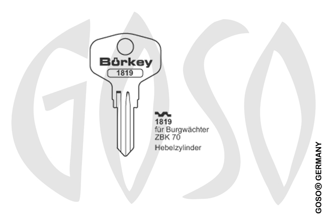 Boerkey cylinder key  BO-1819