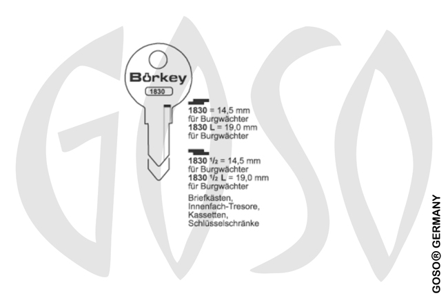 Boerkey cylinder key  BO-1830L