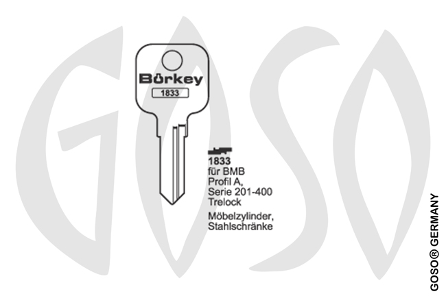 Boerkey cylinder key  BO-1833