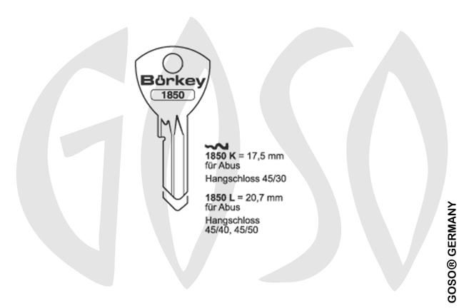 Boerkey cylinder key BO-1850L