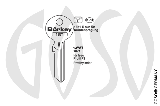 Boerkey cylinder key  BO-1871