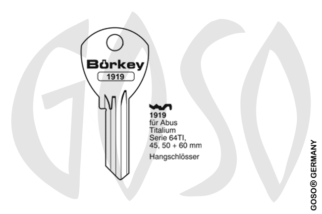 Boerkey cylinder key  BO-1919