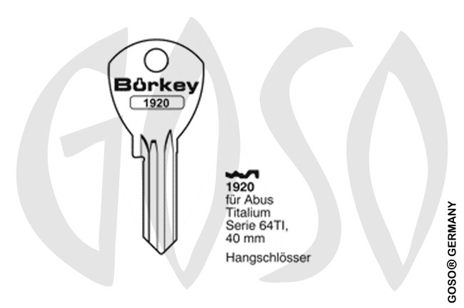 Boerkey cylinder key  BO-1920