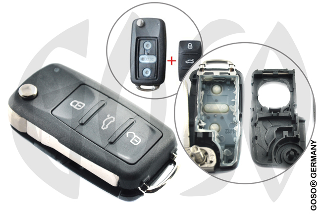 VW Seat key 3T blank shell after 2011 HU66  0862-2