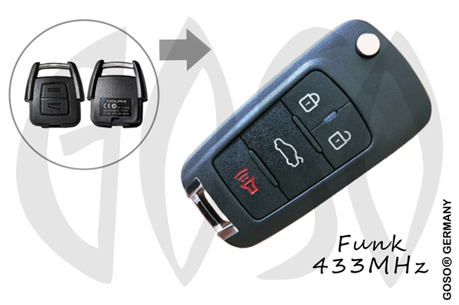 Opel remote key 433MHZ 2 button DELPHI 0916