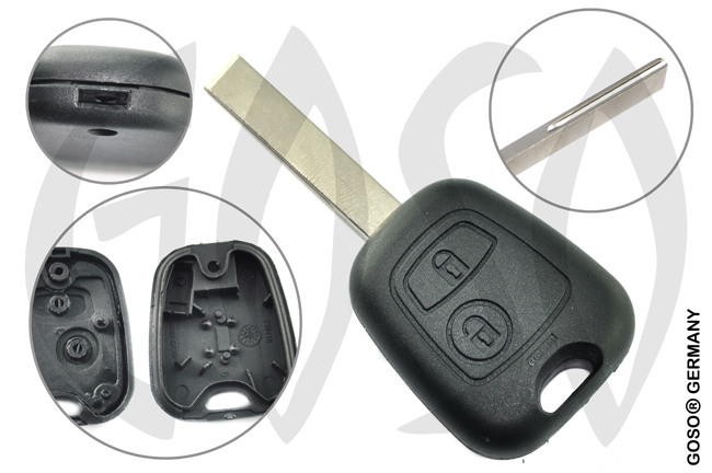 Citroen Peugeot Fiat radio key blank HU83 housing 2 buttons HU83RS2 0923