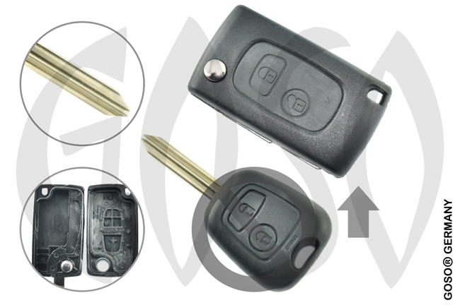 Citroen funk key folding key housing 2 buttons 1050
