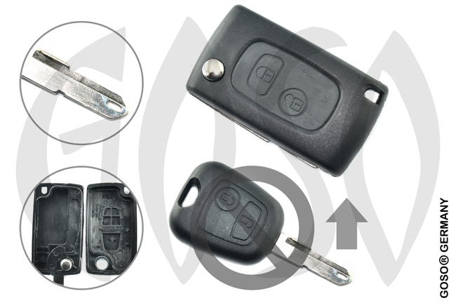Citroen funk key folding key housing 2 buttons 1074