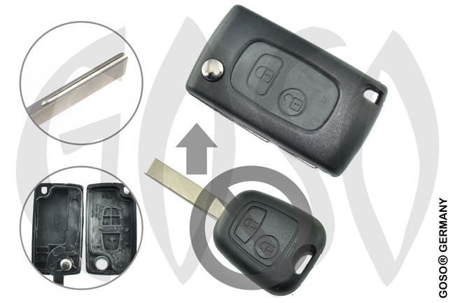 Citroen funk key folding key housing 2 buttons 1135