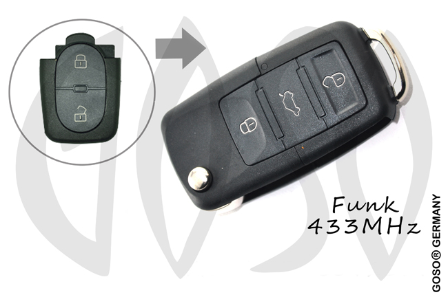 VAG Audi Remote Key 433MHZ 2 button 4D0837231R 1142
