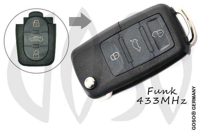VAG Audi Remote Key 433MHZ 3 button 4DO837231K 1159