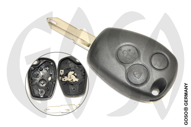 Key Shell for Renault Kangoo remote key housing blank 3 buttons 1487
