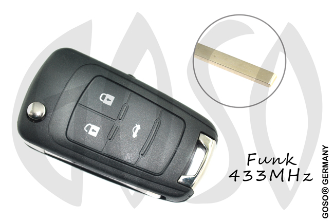Opel Chevrolet Remote Flip Key Shell 3 Button HU100 2064-2