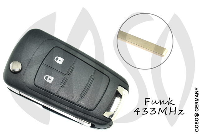 Opel Chevrolet Remote Flip Key Shell 2 Button HU100  2385-2