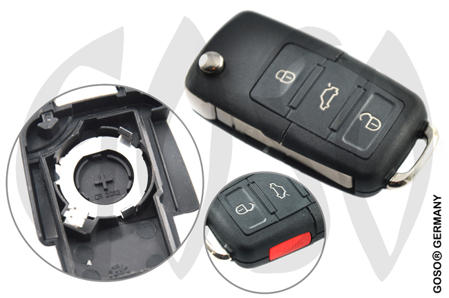 VW remote key folding key housing 3 buttons 2552
