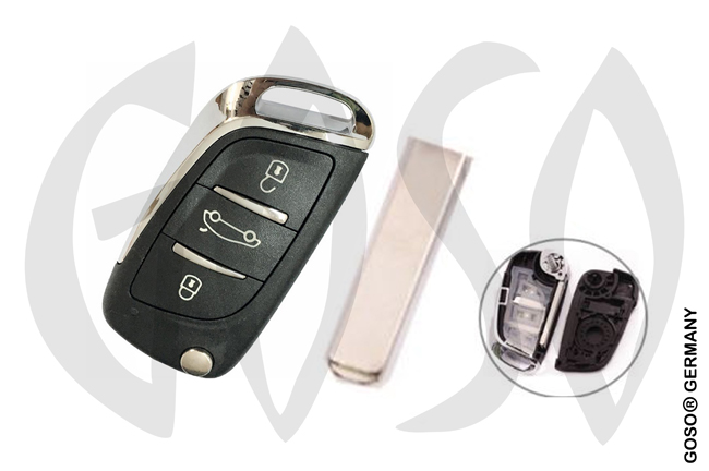 Citroen DS key shell flipkey 3 buttons VA2 2637-2