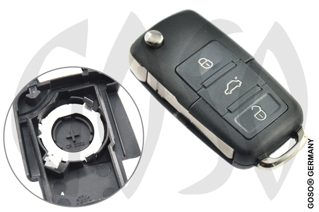 VW remote key folding key housing 3 buttons 2774