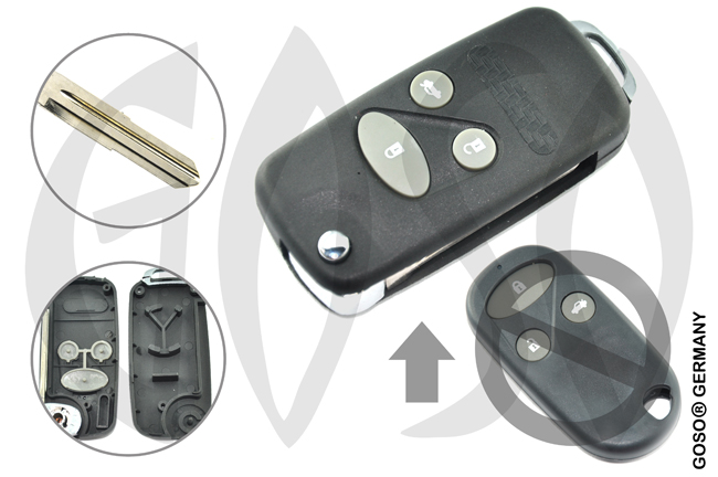 Honda 3 button case with HON58 Klappschlüssel 3283