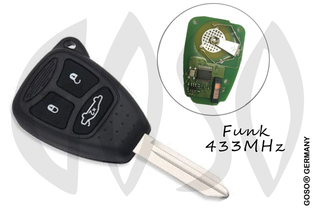 Remote Key Shell for Chrysler 3 Buttons 433 Mhz ID46 PCF7941A 3337-3