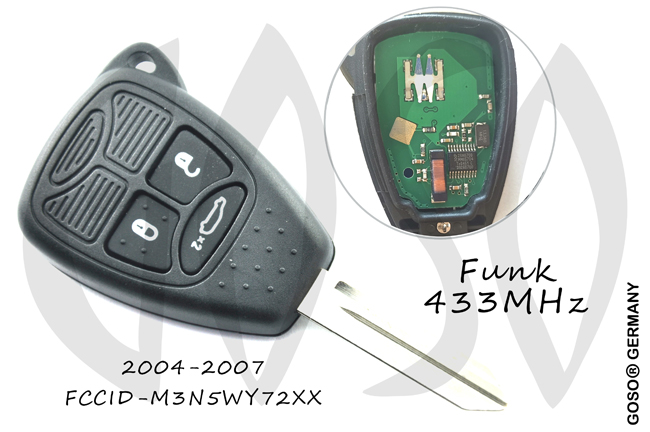 Chrysler 3 Buttons Remote Key Shell 433 Mhz ID46 PCF7941A 3337