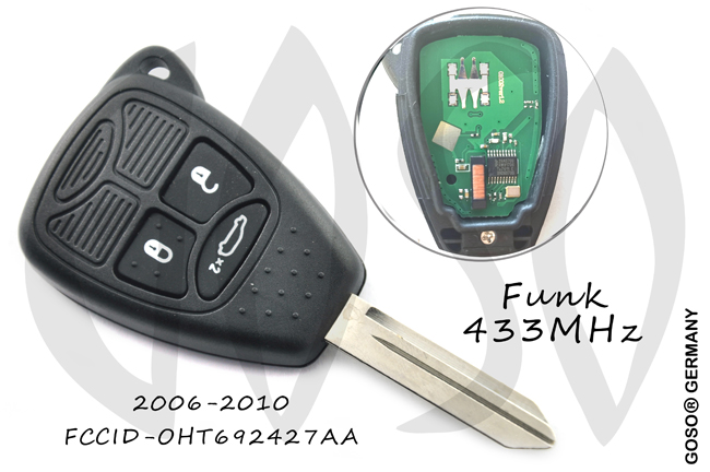 Chrysler 3 Buttons Remote Key Shell 433 Mhz ID46 PCF7961 3344