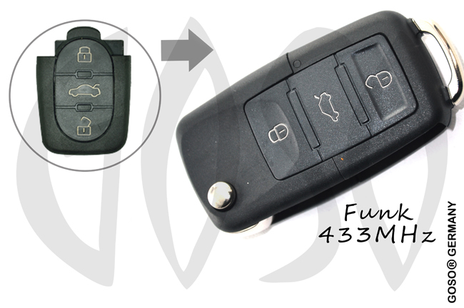 VAG Audi Remote Key 433MHZ 3 button 4DO837231 3641