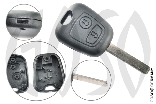 Citroen Peugeot Toyota radio key blank VA2T housing 2 buttons VA2RS2 3993