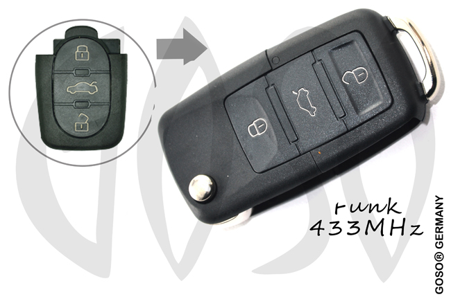 VAG Audi Remote Key 433MHZ 3 button 4DO837231N 4105