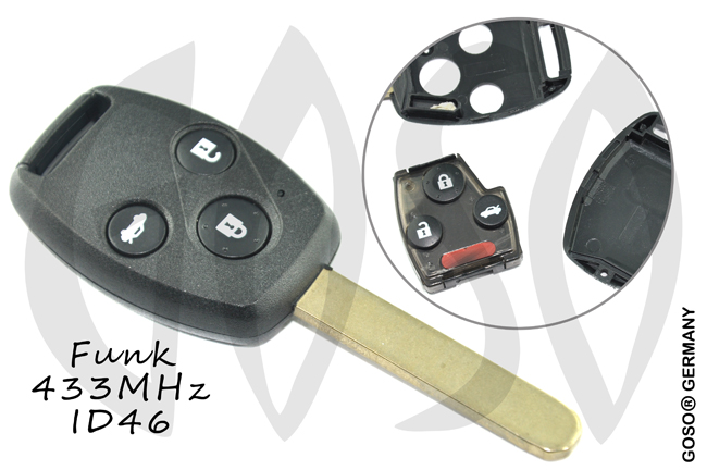 Honda key shell blank 3 button 433 Mhz 4563