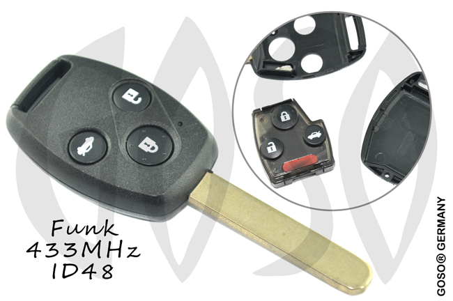Honda key shell blank 3 button 433 Mhz  4587