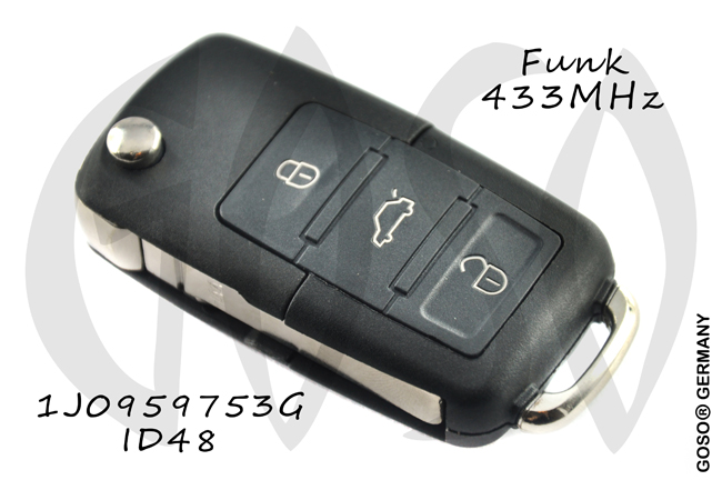 Remote Key for  VAG VW Seat Skoda 433MHZ ASK 1J0959753G ID48 3T 4600