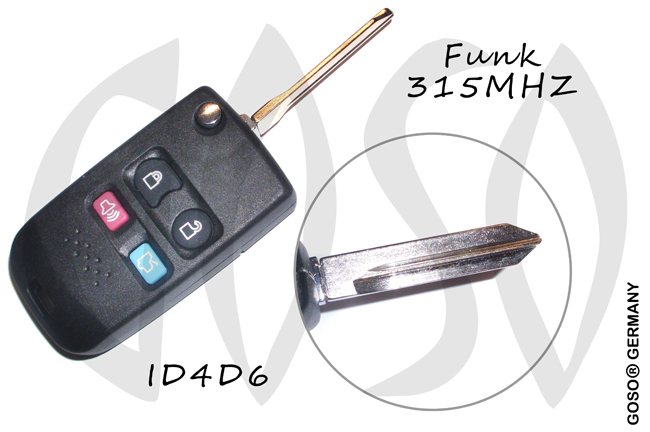 Remote key for Ford FO38 4 buttons 315 Mhz 4D63 5171