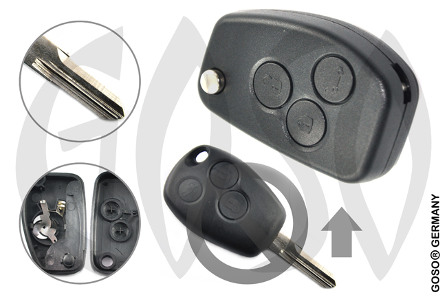 Renault funk key folding key shell VAC102 3 buttons 5645
