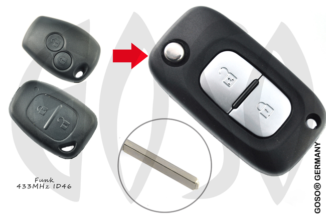 Renault Remote Key 433MHZ ASK ID46 PCF7946 2B VA2 5874-2