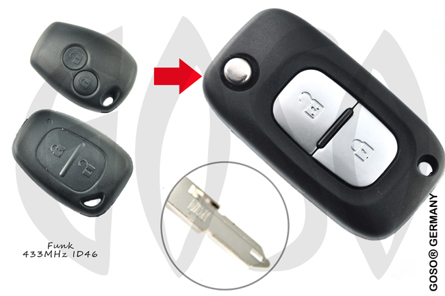 Renault Opel Nissan Remote Key 433MHZ ASK ID46 PCF7946 2B NE73 5874-4