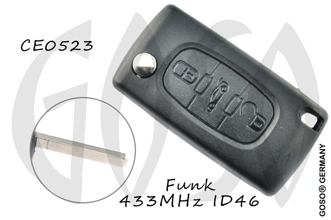 Remote Key for Citroen Peugeot ID46 Leer 433mhz VA2 ASK 3 Button PCF7941 Trunk 6079